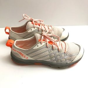 Merrell size 7 women's white orange shoes casual